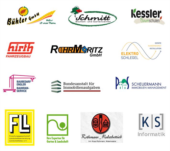 Eine Auswahl an Partnern, Kunden und Lieferanten unsers Betriebes für Freianlagen